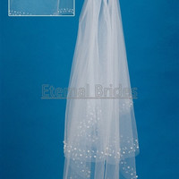 cheap wedding veils/handbeading wedding veil/ two layers veil with comb/crystal beads/beads floral/brides veil