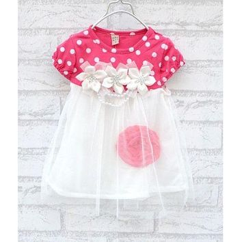 Summer Baby Girls Kids Short Sleeve Dot Floral Print Crew Neck Tulle Lace Dress
