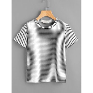 Striped Tee Black and White