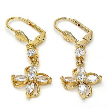 Gold Layered Long Earring, Flower Design, with Cubic Zirconia, Gold Tone