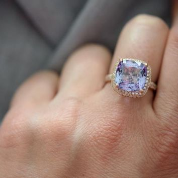 14K White Gold 12CT Genuine Blue Tanzanite & White Sapphire Ring