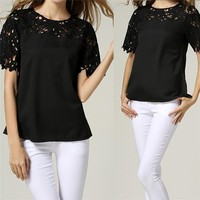 Tops Shirts T-Shirt Blouse Chiffon Lace Hollow Out Round Neck Short
