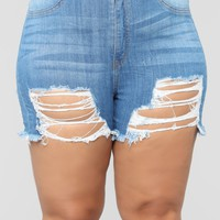 FM Waves II Distressed Denim Shorts - Medium Blue Wash