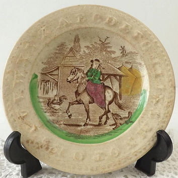 Antique Alphabet Plate ABC's, Edge Malkin Brown Transferware, Hand Tinted Lady On Horse, Staffordshire Pottery England
