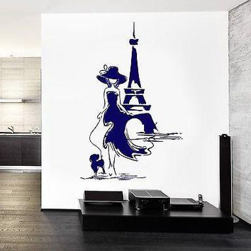 Wall Decal Paris France Eiffel Tower Sexy Girl With Dog Vinyl Decal Unique Gift (z3127)