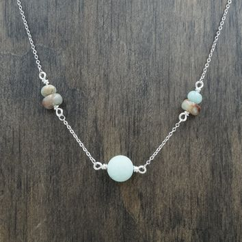 Amazonite and Jasper Aromatherapy Necklace Essential Oil Diffuser Necklace