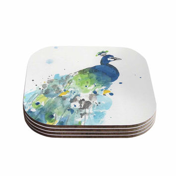 "Rebecca Bender ""Abstract Watercolor Peacock"" Blue Teal Coasters (Set of 4)"