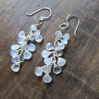 Rainbow Moonstone Heart Shaped Dangle Sterling Silver Earring Clusters ~ Long/Elegant/Eye Catching