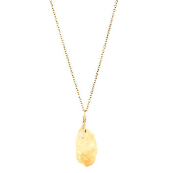 Crystal necklace - citrine necklace - lemon quartz - a raw citrine nugget wire wrapped onto a 14k gold filled or sterling silver chain