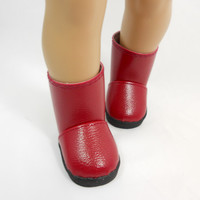 "American Girl Doll Boots, 18"" Doll Faux Leather Boots in Maroon Red"
