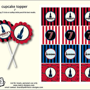 London Birthday - Favor Tags or Cupcake Toppers