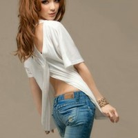 Korean Fashion Casual White Backless T-shirt : Wholesaleclothing4u.com