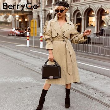 BerryGo Side ruffles sleeve trench coats women Elegant v neck autumn long coat 2018 High waist sashes cotton outwear female coat