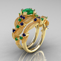 Nature Classic 14K Yellow Gold 1.0 Ct Emerald Blue Sapphire Leaf and Vine Engagement Ring Wedding Band Set R340SS-14KYGBSEM