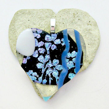 Fused Dichroic Glass Pendant - Blue Dichroic Flowers Heart Pendant