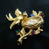 Vintage Spring Jewelry - Easter Brooch - Bird with Nest and Eggs - 80s Pin