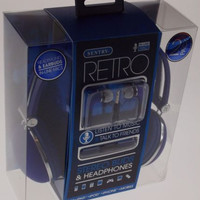 Sentry Retro Stereo Buds Headphones Blue Earbuds Mic In Line HC400 For iPhone
