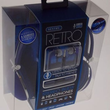 Sentry Retro Stereo Buds & Headphones Blue Earbuds Mic In Line HC400 For iPhone