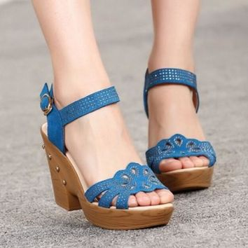 Rhinestone Sandals Rivet Wedge