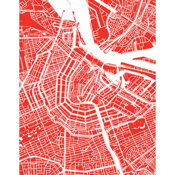 Amsterdam City Map Art Poster Print - customize your map, choose your color