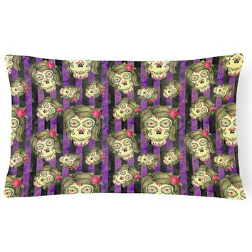 Watecolor Day of the Dead Halloween Canvas Fabric Decorative Pillow BB7519PW1216