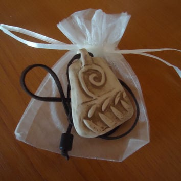 FREE SHIPPING! Handmade ceramic pendant. Necklace. Trapeze shape. Ancient relief.