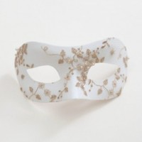 Beautiful White & Gold Blossom Bridal Masquerade Mask - Masque Boutique - Masque Boutique