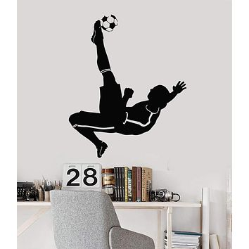 Vinyl Decal Soccer Player Kids Room Boys Decor Sports Art Wall Stickers Unique Gift (ig2955)