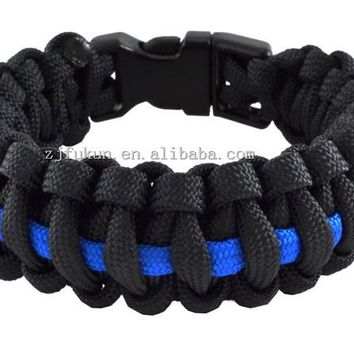 Women Size 21.5CM Long Outdoor Travel Camping Thin Blue Line Black Braided Cobra Weave Plastic Buckle Paracord Survival Bracelet