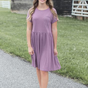 Hyde Striped Babydoll Dress, Dark Mauve