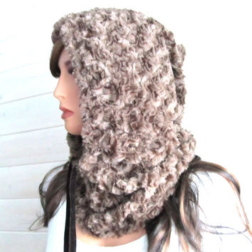 Hooded Cowl Scarf Faux Fur or Snood Hoodie Scarf Softest Luxe Cappuccino Brown Rosette Fake Fur Fashion Hat for Her Neckwarmer