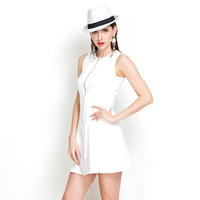 White Casual Zipper Front Sleeveless Mini Dress