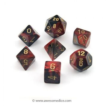 Gemini Red-Black 7-Dice Set | Awesome Dice