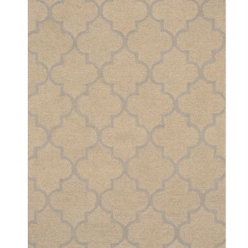 EORC Hand-tufted Wool Beige Traditional Trellis Moroccan Rug