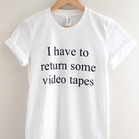 American Psycho Video Tapes White Graphic Unisex Tee