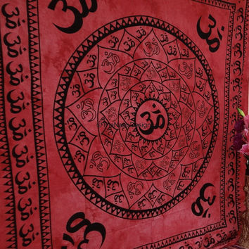 OM Tapestry, Beach throw, Mandala, Star Tapestry, Wall Hanging, Wall Decor, Bedspread