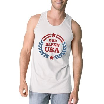 God Bless USA Mens White Cotton Tank Top Independence Day Gift Idea