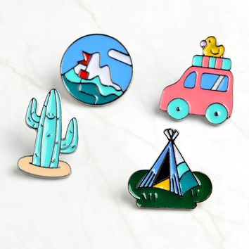 Cartoon Cactus Mountaineering Bus Duckling Tent Brooch Pins Button Denim Jacket Shirt Lapel Pin Badge Jewelry Gift For Kids