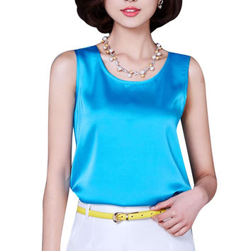 2016 Summer Tank Top Loose Casual Chiffon Solid Sleeveless Vest All-match T-shirts for Women Bright Silk 14 Color Tops Plus Size