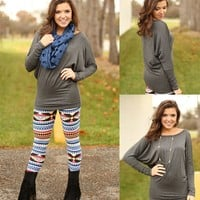 Basic But Beautiful Batwing Top in Charcoal
