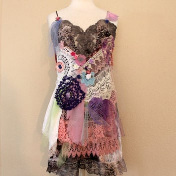 Wearable Art | Boho Slip Dress | Women's Clothing | Altered Couture | Unique Tattered Gypsy Fairy Clothes