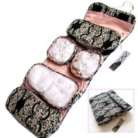 "2-pack Toiletry Cosmetics Travel Bag for Women (8.5""x5.5""x5"") and 2 Butterfly Hair Clips- Pink on Black Make-up Bag and Black on Pink Make-up Bag"