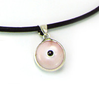Evil Eye Pendant Necklace, Pink Silver Pendant Necklace, Eye Charm, Greek Mati, Hamsa