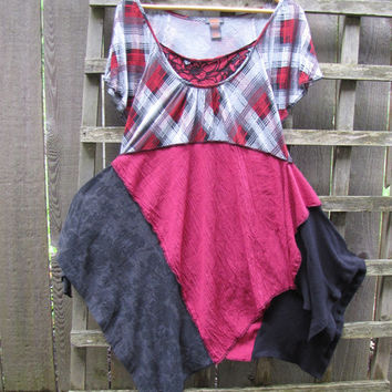 Funky Red Plaid Tunic Shirt Lagenlook Upcycled/ Asymmetrical Handkerchief Hem Eco Blouse/ Hi Lo Womens Tops M/L