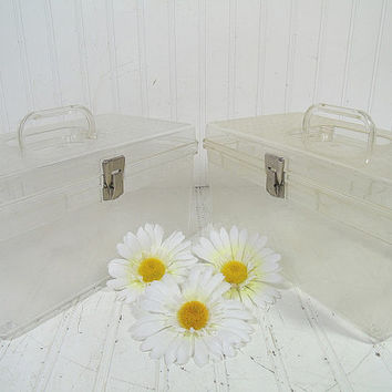 Retro Crystal Clear Wilhold Wilson Sewing Boxes Set of 2 - Vintage Pair of Plastic Carry Alls - Crafters Supply Totes & Artisans Tool Chests