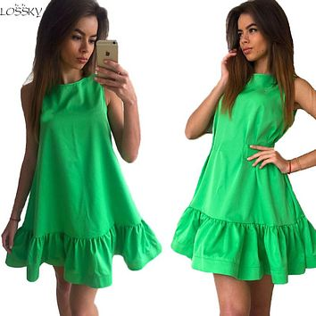 2017 Lossky Women's Vestidos Sexy Ruffle Dress Summer Sleeveless Casual big size Bodycon Dress Women Clothing short summer dress