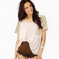 Beige Sequins Short-Sleeve Loose Shirt With Pocket