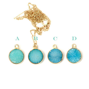 Druzy necklace - drusy necklace - crystal necklace - geode druzy - a 22k gold lined aqua blue druzy on a 14k gold filled chain