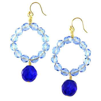 Zola Crazy For You Blue Czech Glass Statement Earrings Gold Plated