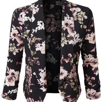 LE3NO Womens Ultra Lightweight Floral 3/4 Sleeve Open Front Cardigan Shrug Blazer